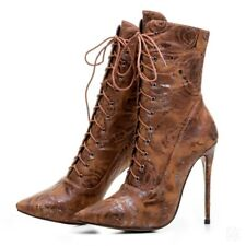 Sexy Women Evening Stilettos High Heel Lace Ups Floral Printed Ankle Boots Party