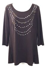 Laura Ashley Womens Blouse Size Small Brown 3/4 Sleeve Gold Silver Embellished
