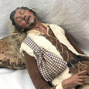 Benino Presepe Napoletano scena 40 cm uomo Arte Presepiale dormiente