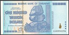 ZIMBABWE 100 TRILLION DOLLARS Note 2008 HYPERINFLATION AA prefix P 91 P91 (UNC)