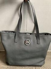 Michael Kors Jet Set Travel Tote Bag Grey Saffiano Leather Shoulder Bag