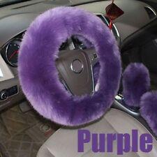 3PCs/Set Long Plush Warm Steering Wheel Cover Woolen Handbrake Car Accessory