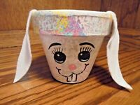 Vintage Hand-Painted Pottery Art Easter Bunny Rabbit Planter Vase Gift Craft 103