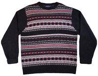 PENDLETON Mens Size XL Shetland Wool Crew Neck Gray Arctic Design Sweater EUC