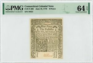 (CT-206) June 19, 1776 9 Pence CONNECTICUT Colonial Currency Note - PMG 64 EPQ