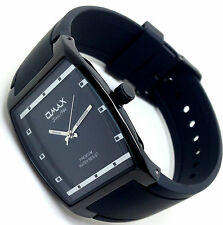 OMAX Men's Fashion Dress Style Wrist Watch Rectangular Black Bezel Analog Quartz