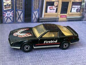 1982 Matchbox Superfast Pontiac Firebird SE Black w/ White Interior 1:62 Scale