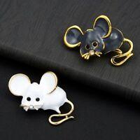Rat Zodiac Mouse Lovely Enamel Brooch Pin Women Costume Fashion Jewelry Gifts