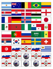 45 FOOTBALL RUSSIA WORLD CUP 2018 ALL TEAMS EDIBLE CUP CAKE TOPPERS RICE PAPER