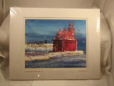 LOU McMURRAY WATERCOLOR PRINT SIGNED LIGHTHOUSE STURGEON BAY PIER LIGHT, WI