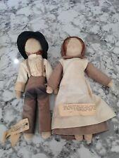 "Antique Vintage 14"" Cloth Faceless Amish Rag Doll Original Clothes Signed Missou"