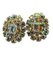 VINTAGE JULIANA TARA D&E AURORA BOREALIS & RHINESTONE OVAL EARRINGS 1960s Pretty