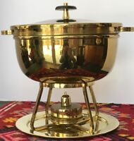 Dorlyn Silversmiths Tommi Parzinger MCM Large Brass Chafing Dish Set 7 Pcs
