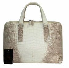 Authentic M Crocodile Skin Mens Belly Leather Laptop Bag Briefcase Zipper White