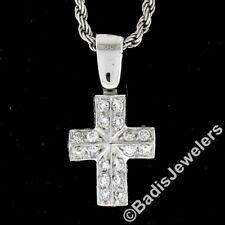 Italian Petite 18k White Gold 0.80ctw Diamond Boxy Geometric Cross Pendant Chain