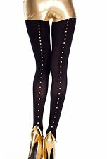 GOLD STUDDED BLACK OPAQUE SEAMED TIGHTS ROCK CHICK GLAMOUR