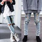 Mens Ripped Skinny Runway Straight Slim Elastic Denim Fit Biker Jeans Pants
