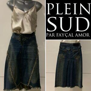 PLEIN SUD Blue Denim Wash Stretch Skirt, Lace-Up,Fringe,KneeLength 38Fr/10AU/6US