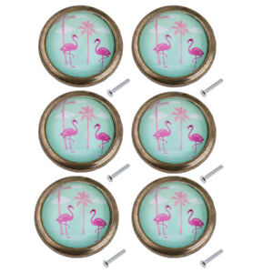6 Pieces Art Decor Style Round Knob Door Closet Flamingo Hardware Combo