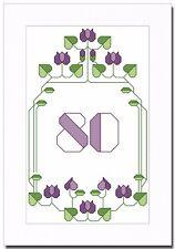 ART DECO ANNIVERSAIRE-tout âge-Tous les chiffres inclus-Cross Stitch Carte Kit