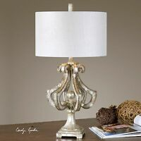 "NEW ORNATE 33"" ANTIQUED SILVER LEAF DARK TAN UNDERTONES TABLE LAMP MODERN LIGHT"