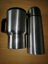 Flask & Insulated travel mug in handy travel bag