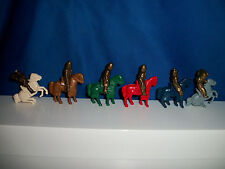 KNIGHTS on HORSEBACK Set of 6 HORSE Bronze Figures Kinder Metal Soldier K97 1996