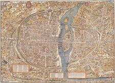 HUGE VINTAGE historic PARIS FRANCE 1550 OLD STYLE Paris Wall MAP fine art decor