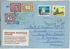 SOUTHERN RHODESIA  - POSTAL HISTORY:  CARD to UK - TAXED 1970 : VERY NICE!!