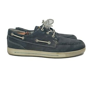 Ecco Boat Shoes Mens 9 Gray Lace Up Casual Eur 43