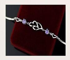 Echt 925 Sterling Silber Armband+4 Herzen+ 2 Zirkonia Silberarmband Damen Design