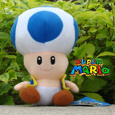Nintendo Super Mario Bros Runing Game Plush Toy Blue Toad Stuffed Animal 6.5""