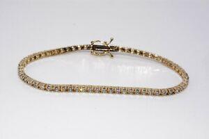 $8,000 3.60CT NATURAL ROUND CUT WHITE DIAMOND TENNIS BRACELET 14K YELLOW GOLD