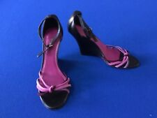 COACH Strappy Wedge Heels Leather Suede Size 7 1/2
