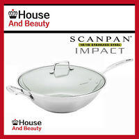 NEW Scanpan Impact 18/10 Stainless Steel Covered 32cm Wok W/Lid RRP $185