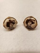Porcelain SWANK Vintage Cufflinks WORLD PORTRAIT Collection Stamped Rembrandt
