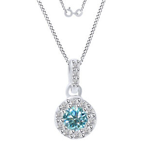 0.5 Ct Round Light Blue Moissanite Halo Pendant Necklace In Sterling Silver