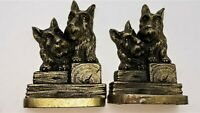 Antique Scottie Terrier Dog Cast Iron Standing Bookends Bronze Finish Puppy