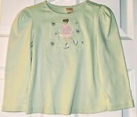 GYMBOREE Girls Green Long Sleeve 100% Cotton Ice Skater Tee Shirt Top Size 4 EUC