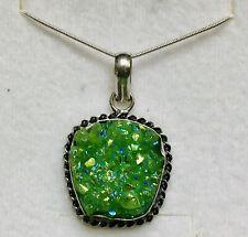 Stunning Peridot Green Titanium Druzy 925 Silver Pendant & 925 Silver Chain