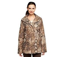 Dennis Basso Animal Print Quilted Coat with Faux Fur Lining, Brown Animal,Size M