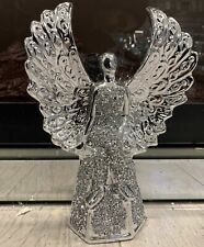 CRUSHED DIAMOND SPARKLY ANGEL GIRL WOMAN BLING ORNAMENT SILVER SHELF SITTER