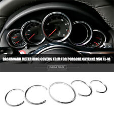 5x Silver Car Dashboard Meter Ring Covers Trim For Porsche Cayenne 958 2011-2018
