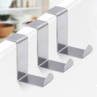 2Pcs Stainless Steel Over Door Hooks Set Cabinet Clothes Hanger Organizer Holder