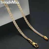 Silver & Gold Braided Wheat Link Gold Filled Necklace Womens Mens Chain Unisex