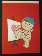 """VALENTINES DAY Boy in Beret Painting Heart 7x10"""" Greeting Card Art #3455"""