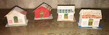 Vtg Xmas Japan Putz Mica House Pink Polka Dot Lot Miniature