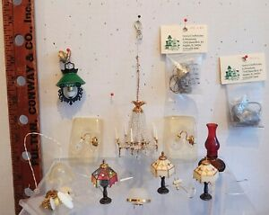 Vintage Dollhouse Electric Light Fixtures Filigree Metal Hanging Sconces Lamps