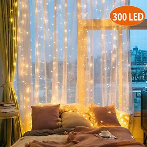 300 LED Fairy String Lights Curtain Window Christmas Wedding Party Decoration