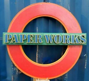 Vintage VERY WELL MADE Wooden Business Sign PAPER WORKS - Fantastic Workmanship